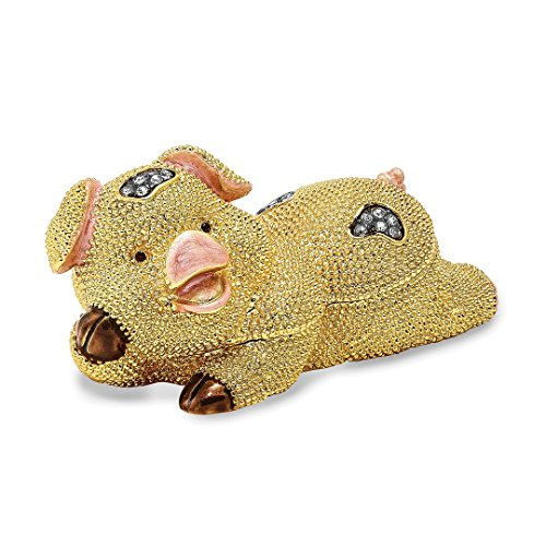 Pig Trinket Box (Saris and Things Bejeweled Cute Pig Trinket Box with Charm Pendant)