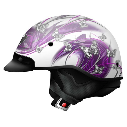 Dot Pink Motorcycle (Zoan Ladies Route 66 Butterfly Pink White DOT Motorcycle Half Helmet XX-Small)