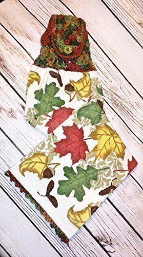 A handcrafted hanging kitchen towel that is sure to please anyone on your holiday listl One of a kind gifts that can be used all year. Falling Leaves Terry Velour Towel.