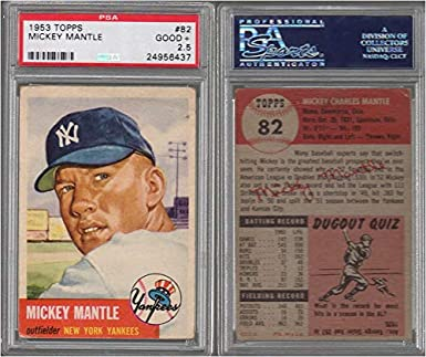 Amazoncom 1953 Topps Regular Baseball Card82 Psa5 Mickey