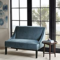 Avalon Swoop Arm Settee Blue/Brown See below