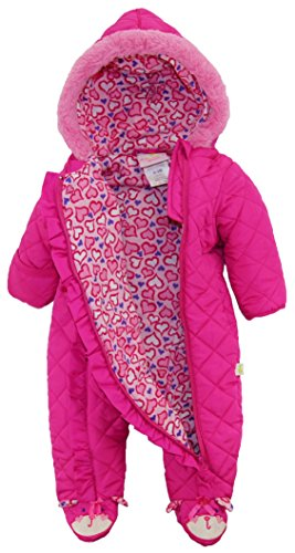 Duck Goose Baby Girls Cute Little Kitty Quilted Footed Ear Snow Pram Suit, Pink, 6-9 Months by Duck Duck Goose (Image #2)
