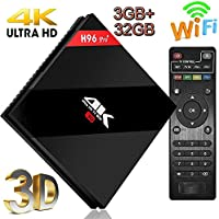 [ 2017 Upgrade 7.1 OS ]Yongf 4K HD Android 7.1 TV Box H96 Pro+ Mini Set Top TV Box 3G DDR3 32G eMMC Amlogic S912 Octa-core BT4.1 Dual Band 2.4G/5.8G WIFI Ethernet 1000M