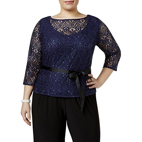 Sequined Overlay - Alex Evenings Womens Plus Sequined Lace Overlay Dress Top Navy 1X