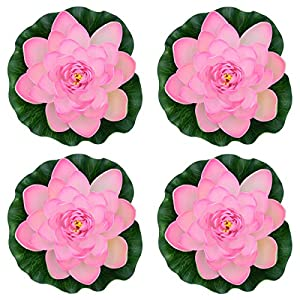 Famgee 7 Inches Artificial Lifelike Floating Foam Lotus Flower Water Lily for Garden Pond Decor, Set of 4 8