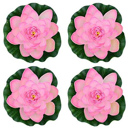 Famgee 7 Inches Artificial Lifelike Floating Foam Lotus Flower Water Lily for Garden Pond Decor, Set of 4 (Pink) ()
