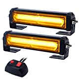 WOWTOU Amber Grille Light Head, 16W Bright Linear LED Mini Strobe Lightbar Surface Mount for POV, Utility Vehicle, Construction Vehicle and Tow Truck Van