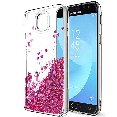 Galaxy J7 2018/J7 Aero/J7 Aura/J7 Top /J7 Refine/J7 Eon/J7 Star Case, SKTTGSLAMY Liquid Glitter Sparkle Girl Women Cute Clear TPU+Shockproof Hard PC Protective Case for Galaxy J7 V 2nd Gen(Rose Gold)