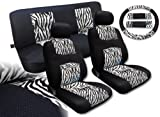 zebra striped car accessories - White Zebra Knit Mesh Animal Accent Seat Covers Nissan Altima Black White Striped - Front Pair Bench and Steering Wheel Set
