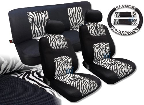 White Zebra Knit Mesh Animal Accent Seat Covers Nissan