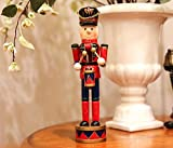 gelvs Christmas wooden Red Drummer nutcracker Soldier Puppet Ornament on stand Handcraft Friends Children Gifts House Office Home Decor Display