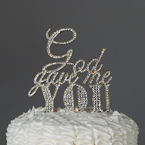 Golden Celebration Favor Cake - God Gave Me You Cake Topper for Wedding or Anniversary, Gold Religious Christian Party Decoration