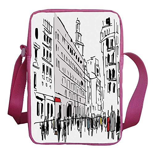Urban Stylish Kids Crossbody Bag,Ink Illustration of Pedestrians on Busy Street with Buildings Modern Cityscape for Girls,9