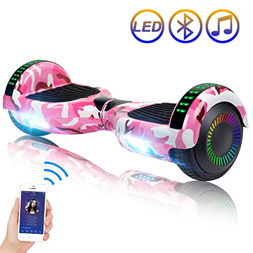 """SISIGAD Hoverboard Self Balancing Scooter 6.5"""" Two-Wheel Self Balancing Hoverboard with Bluetooth Speaker and LED Lights Electric Scooter for Adult Kids Gift UL 2272 Certified Fun Edition - Pink Camo"""