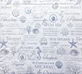 Nautical Pattern with Ocean Shells, Anchors, Ships, Envogue Bedding Sheet Set, King Size Luxury 4 Piece, 100% Cotton Percale, Casual Comfort, Light Gray and Blue on White -- Coast to Coast, Blue
