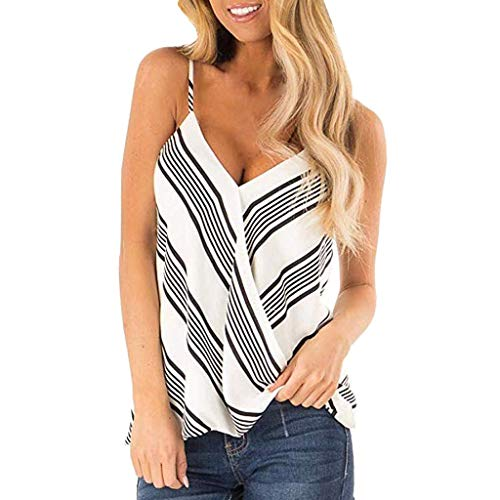 - Aunimeifly Women's Sexy Diagonal Stripes Deep V-Neck Camisole Ladies Loose Spaghetti Tank Tops Arc Hem Vest Black