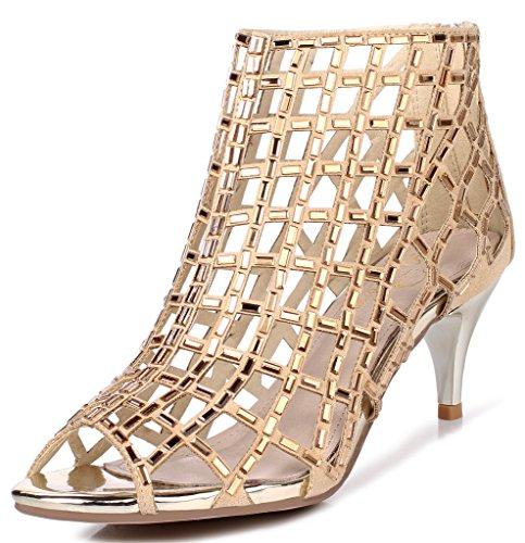 LizForm Women Open Toe Sandal Boots Dress Shoes High Heels Cutout Sandals Studded Everning Heels Gold 8