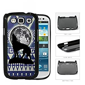 Wolf Howling With Moonlight Aztec Design Hard Plastic Snap On Cell Phone Case Samsung Galaxy S3 SIII I9300