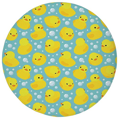 2.95 Ft Round Bathroom Rug,Nursery,Cute Happy Rubber Duck and Bubbles Cartoon Pattern Childhood Kids Theme Art,Aqua and Yellow,Flannel Microfiber Non-slip Soft Absorbent Kitchen Floor Bath Mat Carpet
