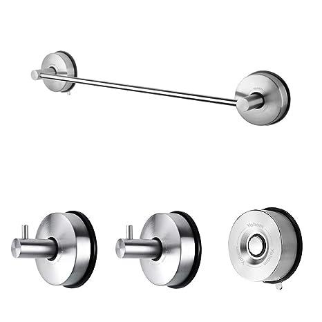 Accessori Bagno Best Lock.Yohom Accessori Da Cucina E Bagno Con Ventosa A Vuoto In Acciaio Inossidabile Kit Di 3 Pezzi 42 8cm Portasciugamani 2 X Gancio Asciugamani Porta