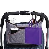 Olivias Stroller Bag Set –Universal Fit Durable Multi Pocket Stroller Organizer Bag and 2 Stroller Carry Hooks - Stroller Accessory Set