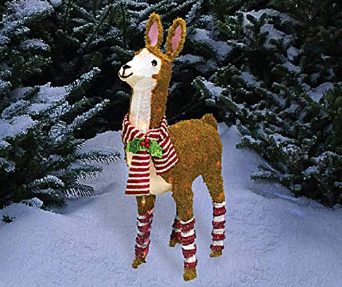 (WWL 31 Inch Tall - Light-Up Tinsel Holiday Christmas Llama, Pre-Lit 50 Clear)