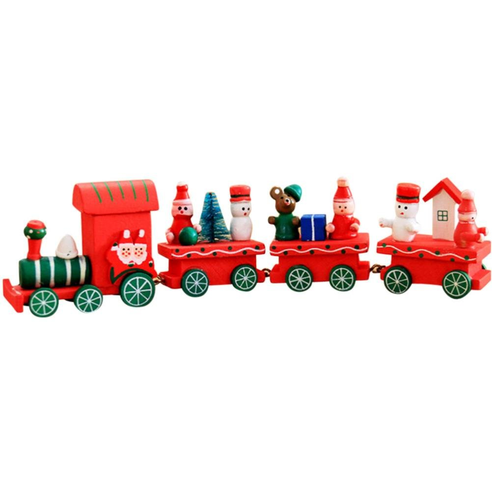 Train de Noel HIver Holiday Train en Bois Enfant Cadeau No/ël Decoration B