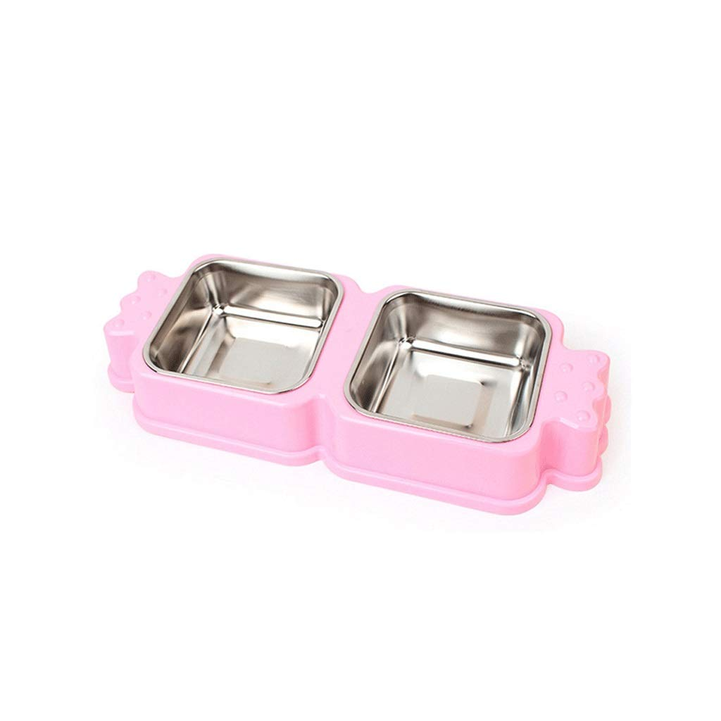 Pink Stainless Steel Dog Bowl Small Dogs Dog Food Bowl Double Bowl Small Dog (color   Pink)