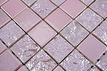 Glas Naturstein Mosaik Fliese Rot Rosa Gold