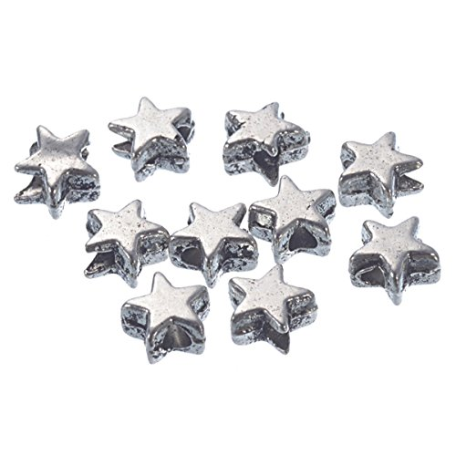 YC 200 Silver Tone Charm Spacer Beads Five-pointed Star Shape 6x6mm Loose Metal Beads Craft DIY Jewelry Making Findings Charms Pendants