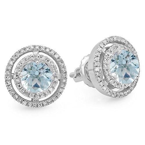 14K White Gold Round Aquamarine & White Diamond Ladies Halo Style Stud Earrings by DazzlingRock Collection