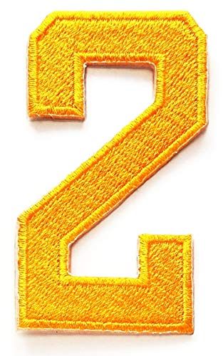 Yellow Number 2 Patch Number Two Counting Logo Children DIY Letter Number Embroidery Iron on Patches for Clothes (Yellow Number 2)