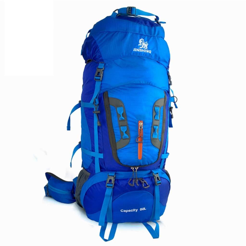 ココ80Lプロハイキングバックパック、取り外し可能なショルダーストラップ防水ナイロンスポーツバッグ、屋外高性能男性と女性のバックパック (色 : 青)   B07QGBCLR1