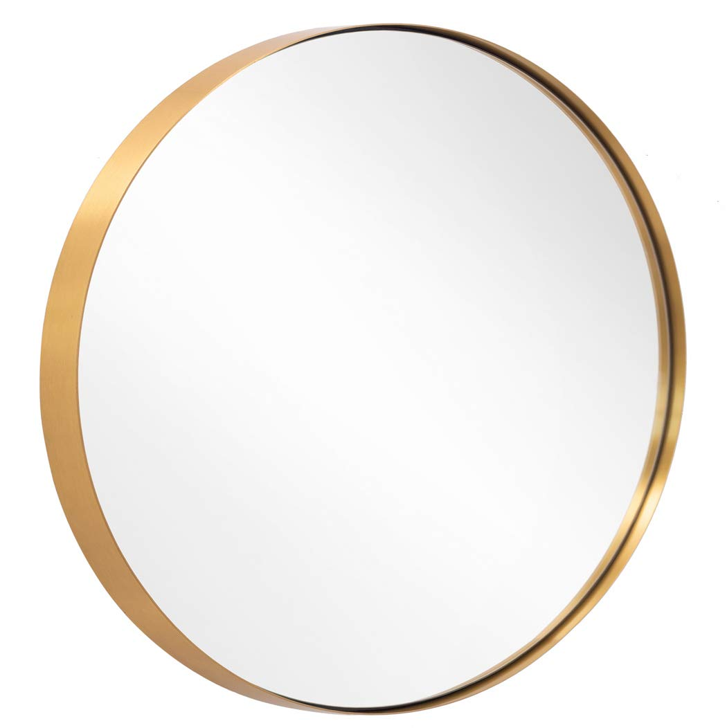 Round Mirror for Bathroom, Gold Circle Mirror for Wall Mounted, 30'' Modern Brushed Brass Metal Frame Round Mirror For Wall Decor, Vanity, Living Room, Bedroom