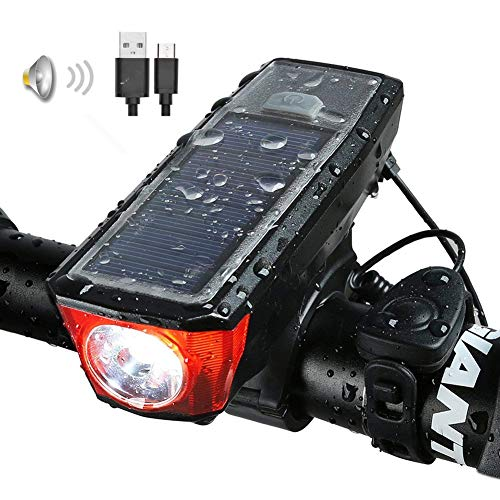 Solar USB Rechargeable Bike Front Lights Set 5 Modes 120db Bicycle Bell Horn 350 Lumens 4 Mode Waterproof Bicycle Headlight, USB Output Charge Your Mobile Phone, Road Cycling Safety Flashlight Lights