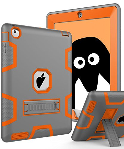 TOPSKY iPad 2 Case,iPad 3 Case,iPad 4 Case,iPad 2/3/4 Kids Proof Case,Heavy Duty Shockproof Rugged Kickstand Protective Cover Case for iPad 2nd/3rd/4th Generation Retina(A1416/A1458) Grey Orange