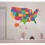 Amazoncom Wallies Wall Decals US Map Wall Sticker Home Kitchen - Us map wall decal