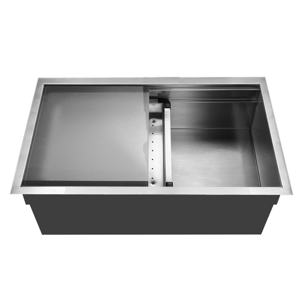 Houzer NVS 5200 Novus Single Bowl Sliding Dual Platform Stainless Steel Kitchen  Sink     Amazon.com