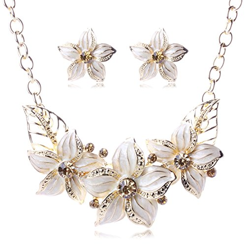 SDLM Elegant Rhinestone Flowers Pendant Collar Necklace Stud Earrings Set Wedding Jewelry(w) (Homemade Cupcake Costume Kids)