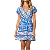 Women's Boho Bow Ruffles Printing Party Pencil Midi Dress Bandage Dresses Winter-to-Spring Dresses (Blue, XXL)
