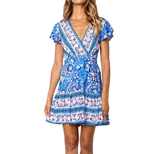 URIBAKE 2019 Women's Blue V-Neck Dress Vintage Bohemian Floral Print Midi Dress Bandage Dress