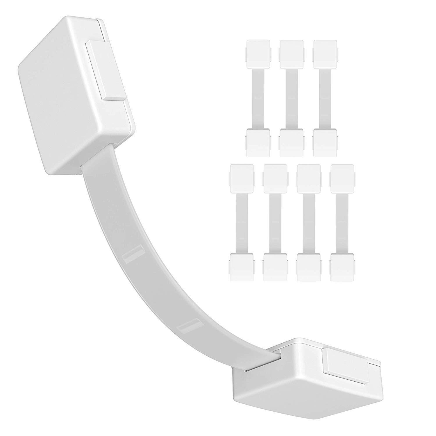 Skyla Homes - Child Safety Locks For Cabinets (8-Pack) - No-Tool Baby Proofing, Extra Strong 3M, Multi-Purpose Lock, Baby proof Home Drawer, Cabinet, Fridge, Oven, Toilet Seat by Skyla Homes