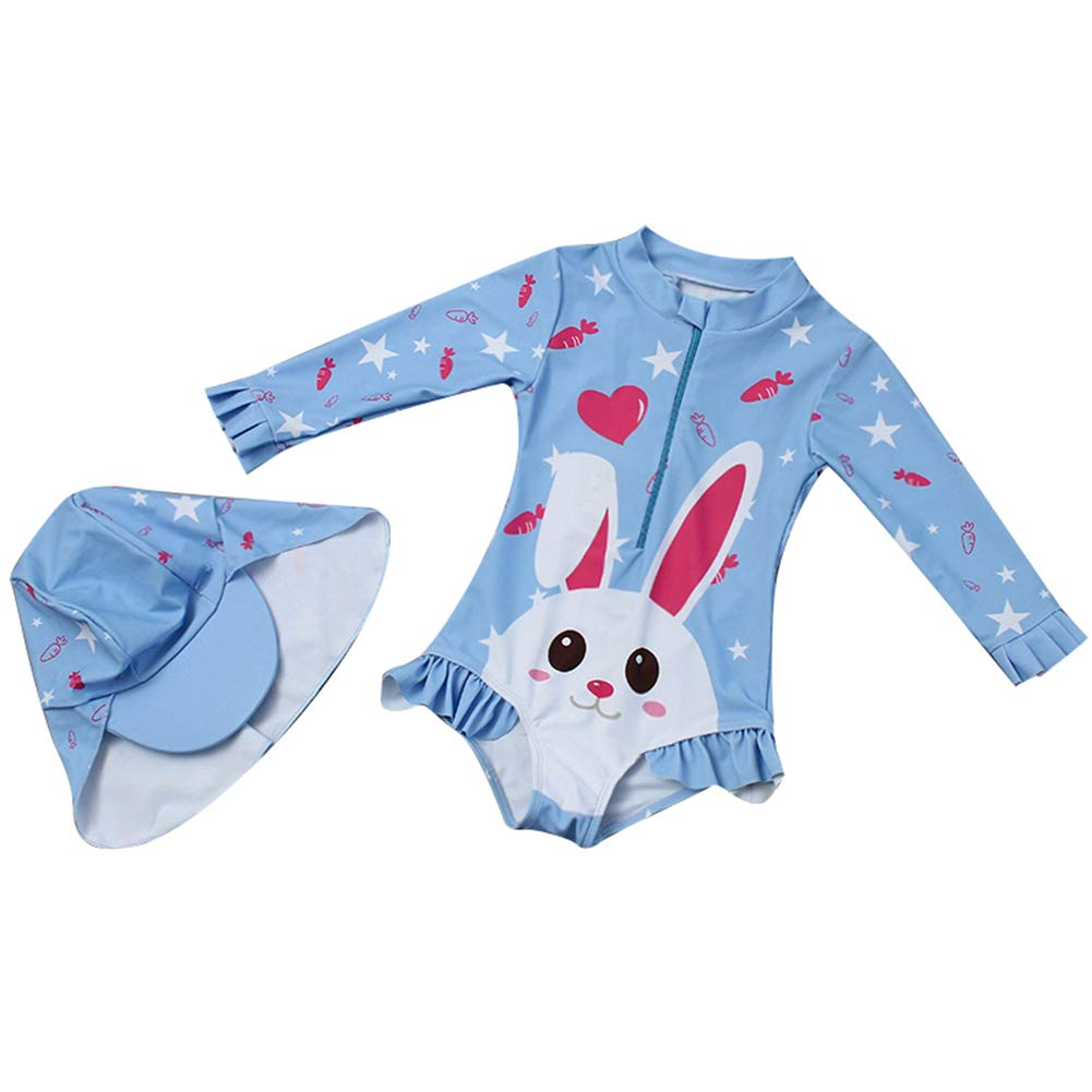 Toddler Baby Girl Swimsuit One Piece Cute Rabbit Swimwear Little Kid Long Sleeve Rash Guard Sun Protection Bathing Suit 1-6t