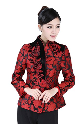 JTC Women Chinese Jacket Long Sleeve Flowers 2 Colors (US 4-6/Chinese XL, (Chinese Womens Jacket)
