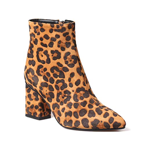 wetkiss 新品 Plus Size Fashion Women Ankle Bootie Leopard Boots Sexy Winter Fur Thick high Heels Women Shoes
