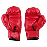 uxcell Faux Leather Children Sponge Padded Sparring Boxing Gloves Red