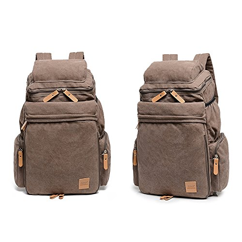 manjianghong Quality Canvas Weekend Gym Backpack Hiking Mountain Daypack School Travel Backpack Rucksack Laptop Business Backpack