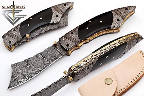 - Engraved Custom Damascus Pocket Knife w/ Horn Handle GladiatorsGuild