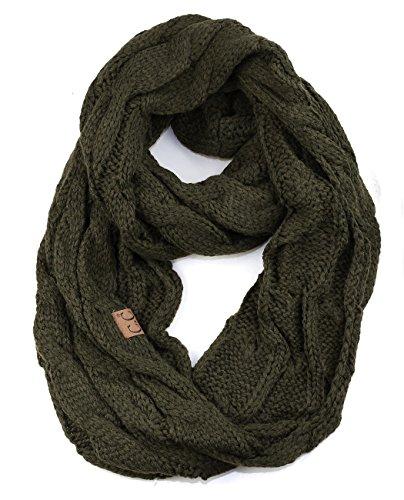 NYFASHION101 Soft Winter Warm Chunky Knit Cowl Infinity Loop Scarf, Dark Olive (Green Chunky Scarves)