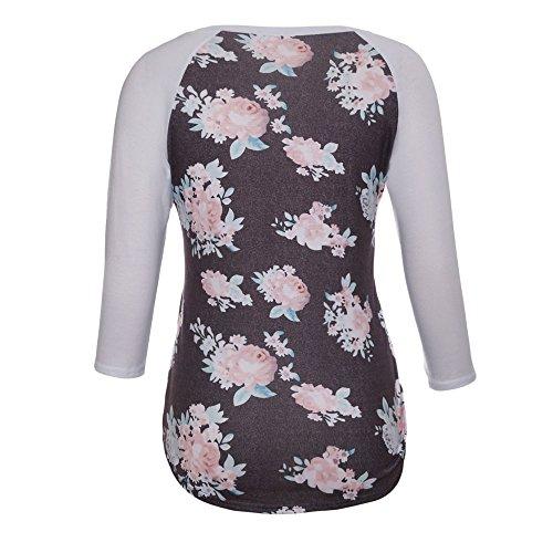 Top Casual Rond Manche 3 Femme 4 Col Blouse Lache T Gris Shirt Raglan Patchwork Uranus FqRAwn5n